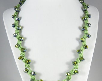 Green faceted glass bead crocheted necklace