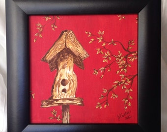 Whimsical Birdhouse Framed Mixed Media Painting on Canvas
