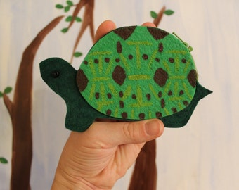 EcoFriendly Felt Turtle Coin Purse