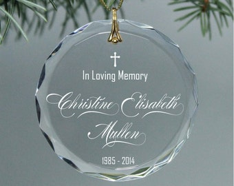 With Cross In Loving Memory - Engraved Round Personalized Crystal Ornament