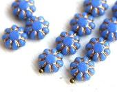 Blue Flower beads - Cornflower Blue, golden inlays, gold wash - czech glass flat daisy - 9mm - 20Pc - 0922