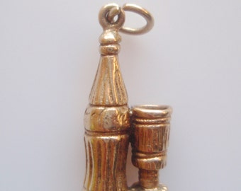 9ct Gold Coca Cola Bottle and Glass Charm or Pendant