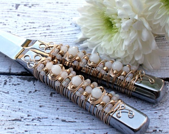 COUTURE Frosted White & Gold Beaded Wire Wrapped Salad Serving Set, couture, wedding, gift, custom, tabletop