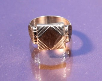 Vintage Art Deco Ring Silver Plate Signet Ring Modernist Signet Ring Design Signet Ring 1930s French Jewelry Ring Size 6.50 US