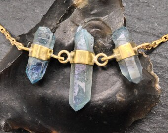 Multi Banded Aqua Aura Quartz Necklace - Trio - Brass