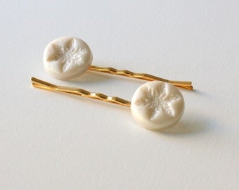White Bobby Pins, Snowflake Hair Pins, White Clay Hair Pins, White Snowflake Bobby Pins, Pearl White Hair Pins, Gold Hair Pins
