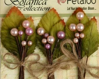 Petaloo Botanica Spring Berry Clusters In Pink, Berry Picks Set Of 3,  Flower Embellishement , Scrapbook Embellishments