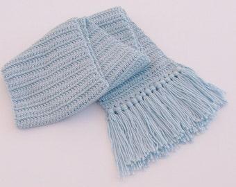 Crochet Light Blue Scarf with Fringe