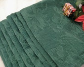 "9 Vintage Holiday Green Dinner Napkins, Heavy Woven Cotton Damask, 17"" x 17"""
