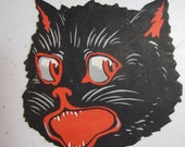 1920's-30's unused large gummed back die cut Halloween seal hissing black cat with red accents on mouth,eyes, ears