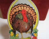 Colorful 1930's die cut silver gilded unused thanksgiving themed bridge tally turkey and fall harvest