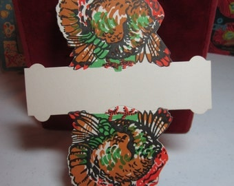 Vintage unused 1940's colorful die cut Thanksgiving turkey nut candy cup party favor