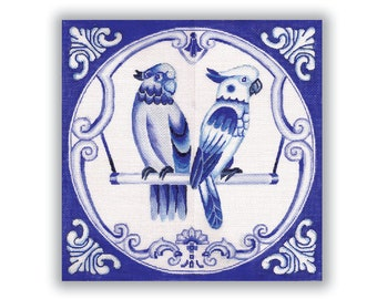Blue and White Needlepoint Canvas - Two Birds on a Perch.