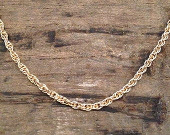"Vintage 14k Yellow Gold 18"" Triple Ring Rope Chain"