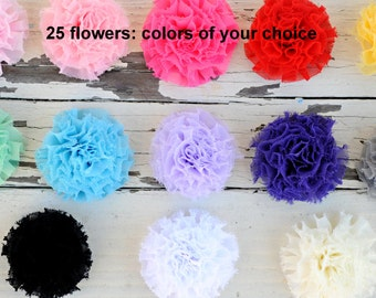 "Chiffon Puff Flowers - Mini Puff Flowers - Fabric Flowers - Set of 25 - You Choose Colors - 2.25"" Flower - Wholesale Fabric Flower Set"