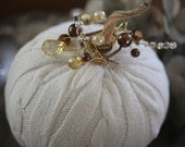Handmade Knit Pumpkin (White Color) with Real Pumpkin Stem and added Embellishments