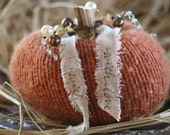 Handmade Knit Pumpkin (Orange Color) with Branch Stem and Added Embellishments