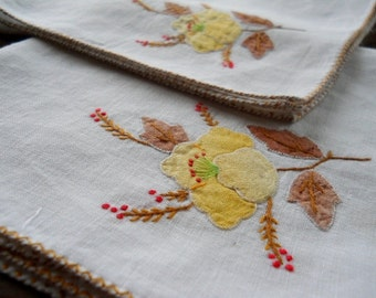 Vintage Table Linens Luncheon Dinner Napkins Appliqued Yellow Flowers and Brown Leaves Embroidered Red Berries Set of 5