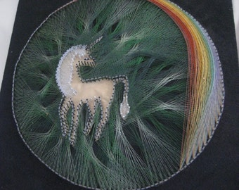 Vintage KITSCH Unicorn and Rainbow String Art