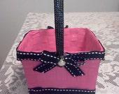 Bright Pink & black flower girl basket pearls Donna Su