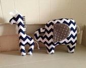 Modern zoo animal decor pillows baby nursery elephant and giraffe accent pillows gray and navy chevron