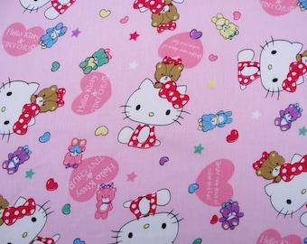2717 - 1 yard  twill cotton fabric - kittiy on  pink