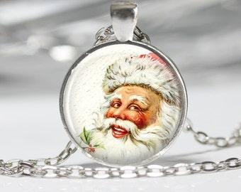 Christmas Necklace Santa Pendant Wearable Art Santa Necklace
