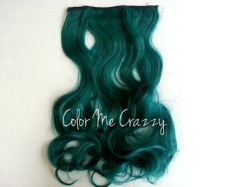 Aqua Dip Dyed Mermaid Gradient Ombre Wavy Synthetic Clip In Hair Extensions Hair Piece