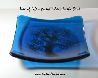 Tree of Life Dish - Fused Glass Sushi Dish - Square Plate - Handmade and unique