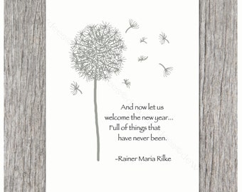 Rainer Maria Rilke - And now let us welcome the new year...Full of things that have never been - Set of 4 Thanksgiving & New Year Card