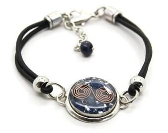 Orgone Energy Bracelet - Leather Friendship Bracelet - Lapis Lazuli Gemstone - Celebrity Gift - Artisan Jewelry