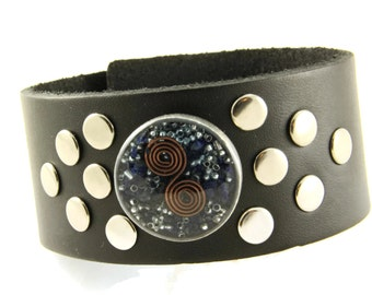Orgone Energy Bracelet - Black Leather Cuff Bracelet - Lapis Lazuli Gemstone - Unisex Bracelet - Artisan Jewelry