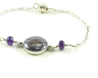 Orgone Energy Petite Stacking Bracelet in Antique Silver with Amethyst Gemstone - Delicate Bracelet - Orgone Energy Jewelry -Artisan Jewelry