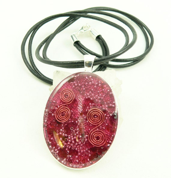 Orgone Energy Pendant - Large Silver Oval with Red Garnet Gemstone - Leather Necklace - Orgone Jewelry - Celebrity Gift - Artisan Jewelry
