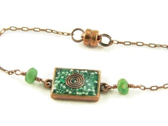 Orgone Energy Petite Stacking Bracelet in Antique Copper Rectangle with Malachite Gemstone - Delicate Bracelet - Orgone Energy Jewelry