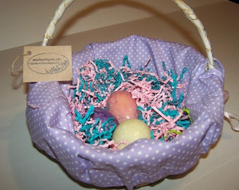 Personalized Basket Liner Purple White Dots