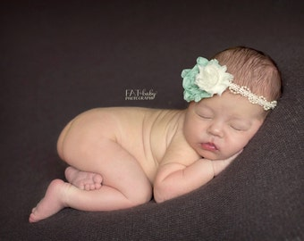 Newborn Headband...Baby Girl Headband...Vintage Headband...Brook Green...Newborn Photography Prop...Baby Bows