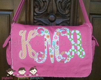 Monogram Large Raw Edge Messenger Bag or Diaper Bag with Personalized Name