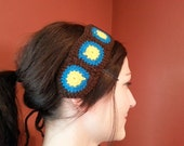 Yellow, Teal and Dark Brown Granny Square Headband with Ties