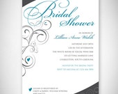 Turquoise Swirls Bridal Shower Invitation - DIY - Digital File - Print Your Own - JPEG - PDF