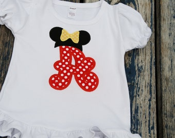Initial with Minnie Mouse Ears Appliquéd Shirt with Monogram