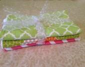 Set of 3 Baby Girl Burp Cloths Chevron burp cloths flower burp cloths
