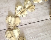 Paper Hearts Garland, Old Sheet Music Garland  Vintage  Music  Banner  Heart Garland Music Notes Garland Made to Order