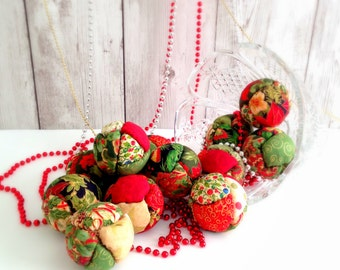 Country Christmas Ornaments  Fabric Quilted-Look Bowl Fillers Stacking Balls Ornament Holiday Decoration Christmas Decor (6)