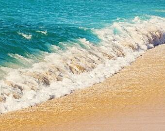 Hawaii Wave Seashore Photograph, Kauai Print, Beach Decor, Teal Wave Ocean Art, Nautical Decor, Ocean Print - Crash