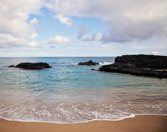 Ocean Photography, Beach Art Print, Kauai Hawaii Seashore Photograph, Teal Blue Ocean Waves, Nautical Decor, Clouds - Seascape