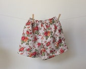 Size 4 girls shorts, girls play shorts made from vintage style cotton fabric. ready to ship, red and white shorts with shabby chic roses