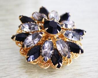 Vintage Black & Gold Rhinestone Pin / Costume Jewelry Brooch