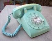 Blue Rotary Dial Telephone by ITT