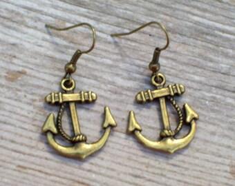 Brass Anchor Earrings Antiqued Brass Plated Sailor Earrings